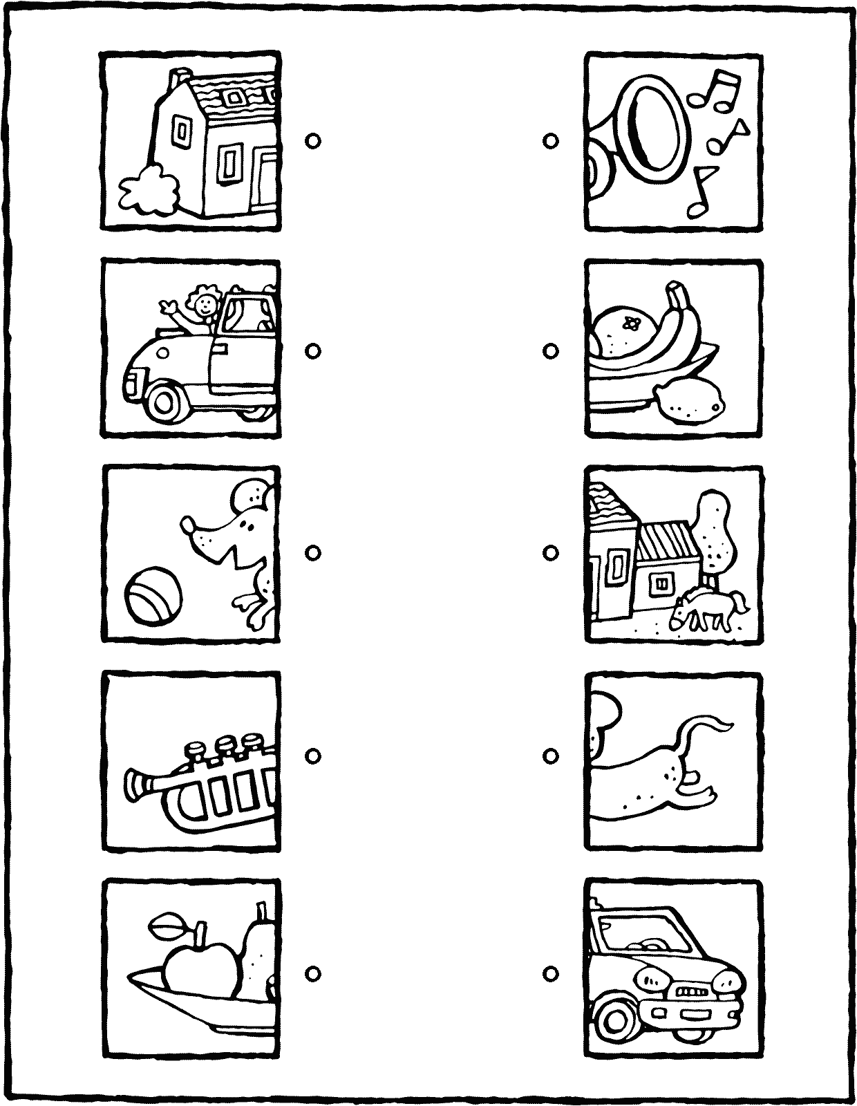 what belongs with what five object colouring page page drawing picture 01V