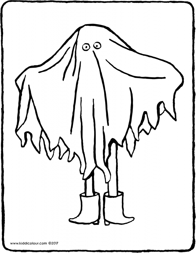 woooo… a ghost colouring page page drawing picture 01V