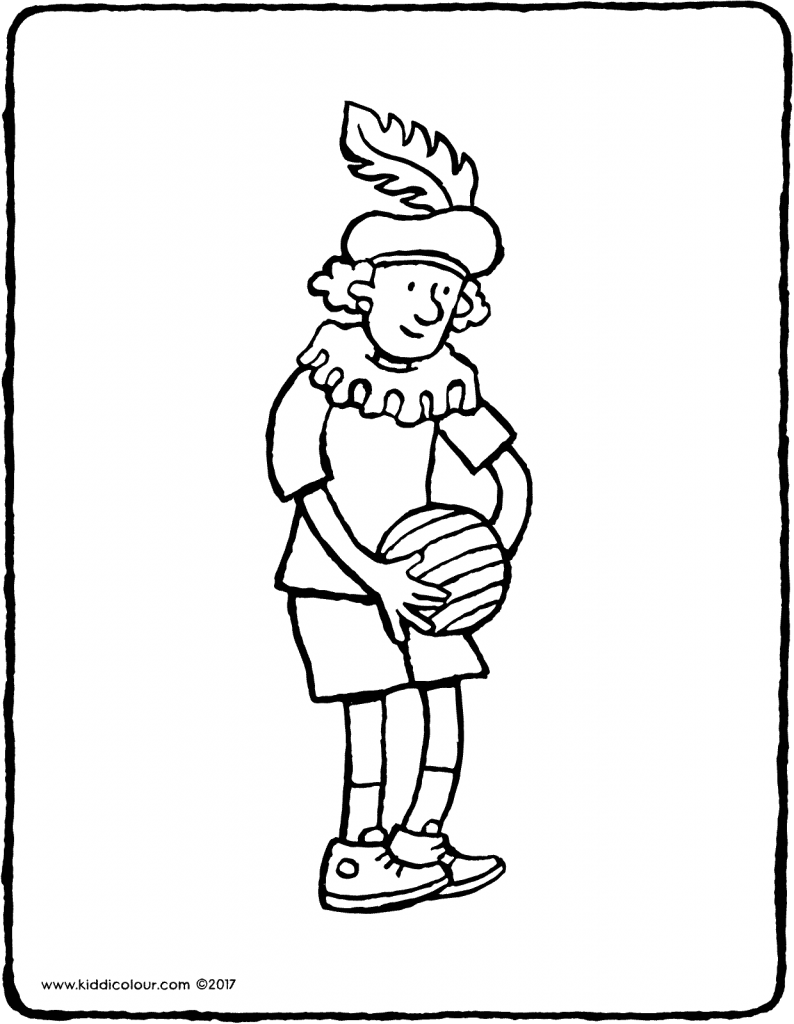 Black Pete with a ball colouring page page drawing picture 02V
