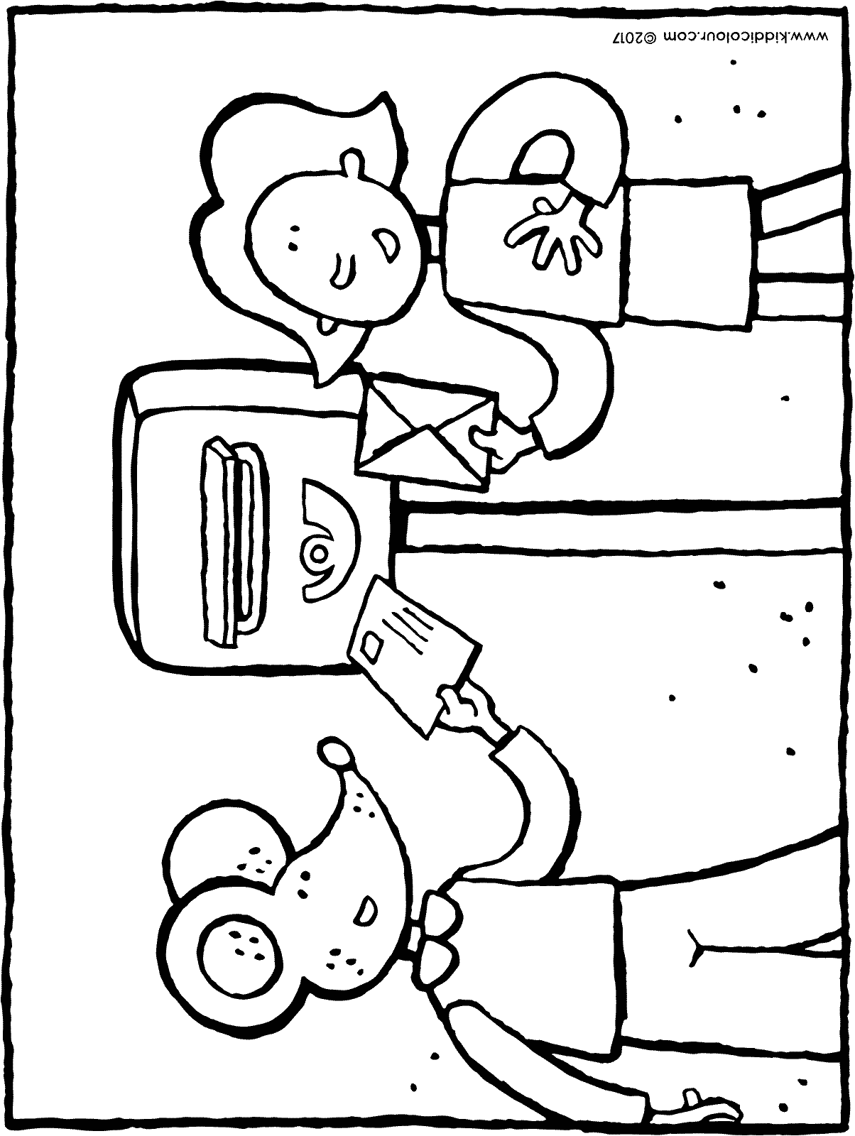 Emma and Thomas posting a letter colouring page page drawing picture 01H