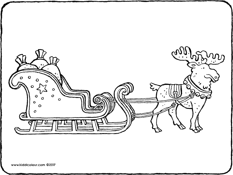 Father Christmas's sleigh with reindeer colouring page page drawing picture 01k