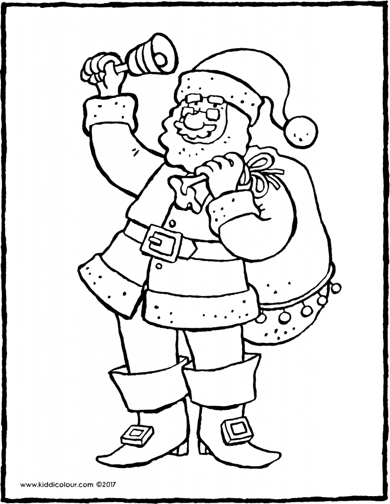 Father Christmas with bell colouring page drawing picture 01V