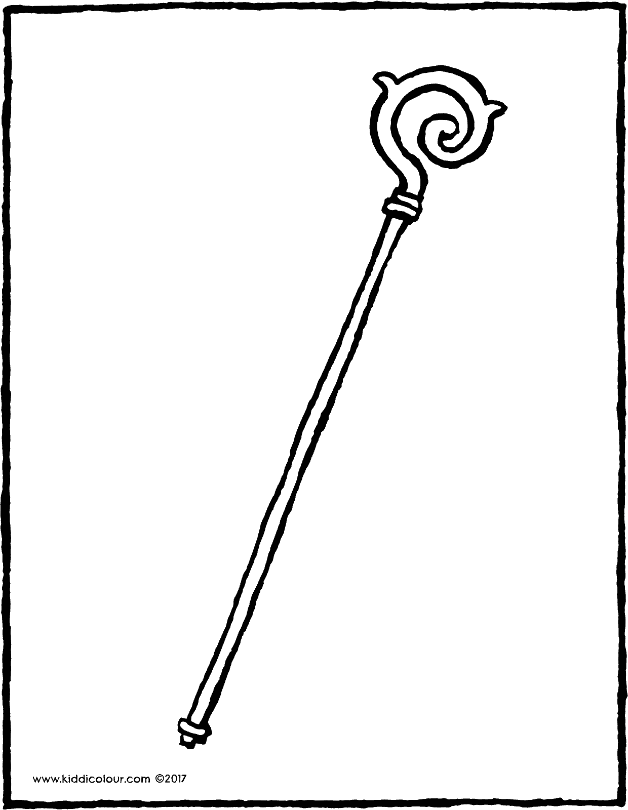 Saint Nicholas' staff colouring page page drawing picture 01V
