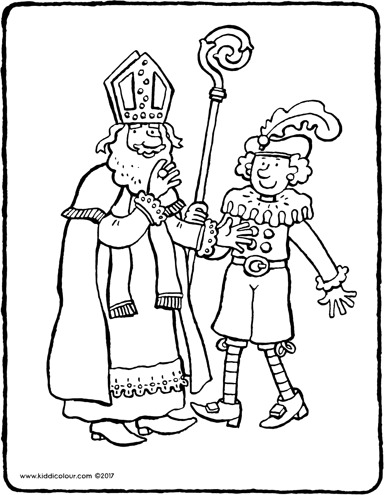 Saint Nicholas and Black Pete colouring page page drawing picture 01V