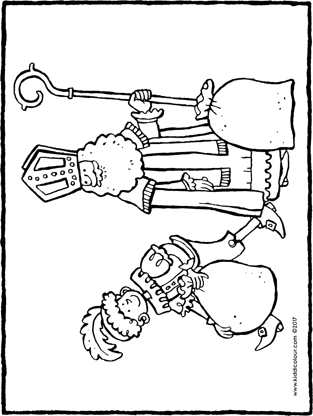 Saint Nicholas and Black Pete colouring page page drawing picture 02H