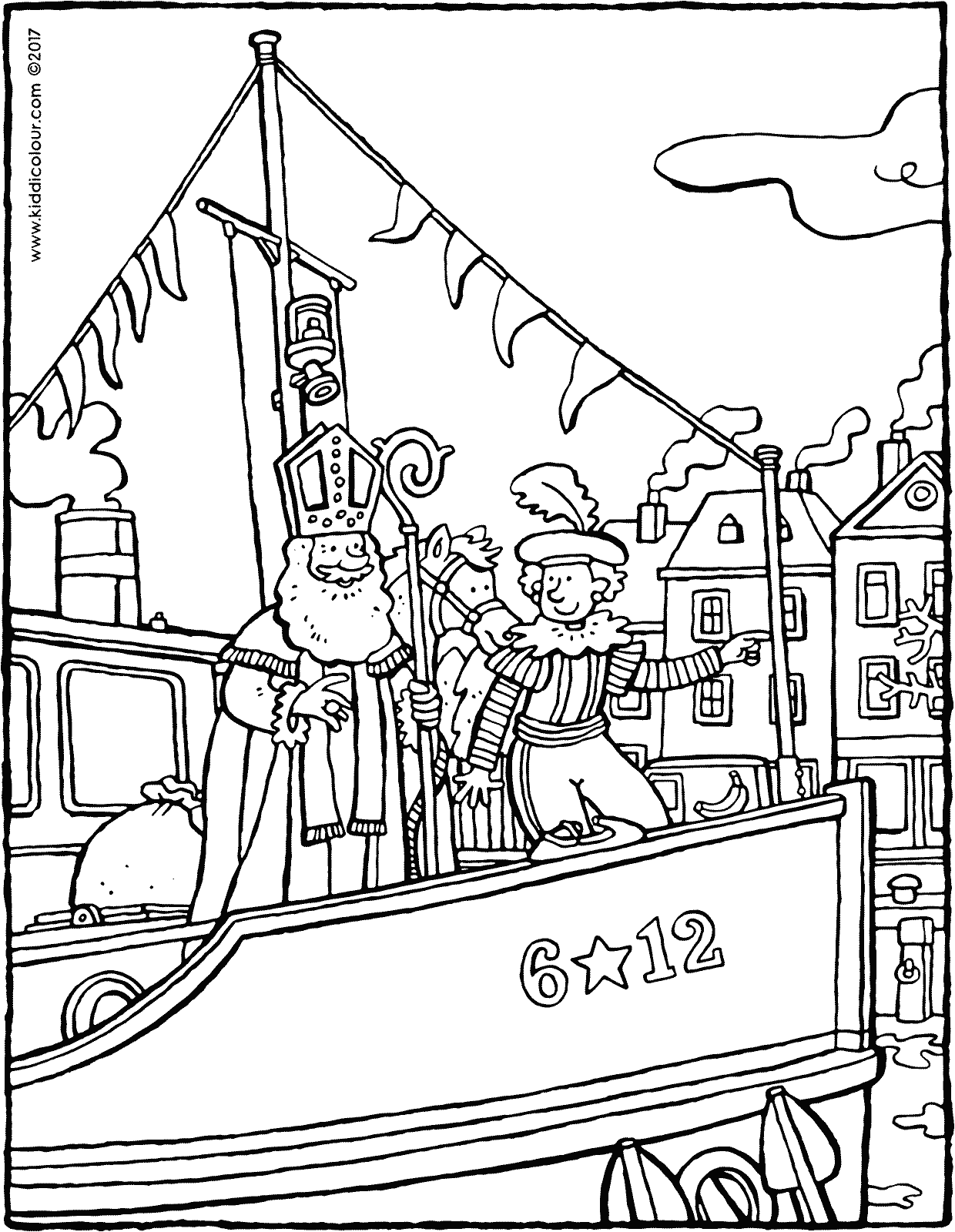 Saint Nicholas and Pete on the steamboat colouring page page drawing picture 01V
