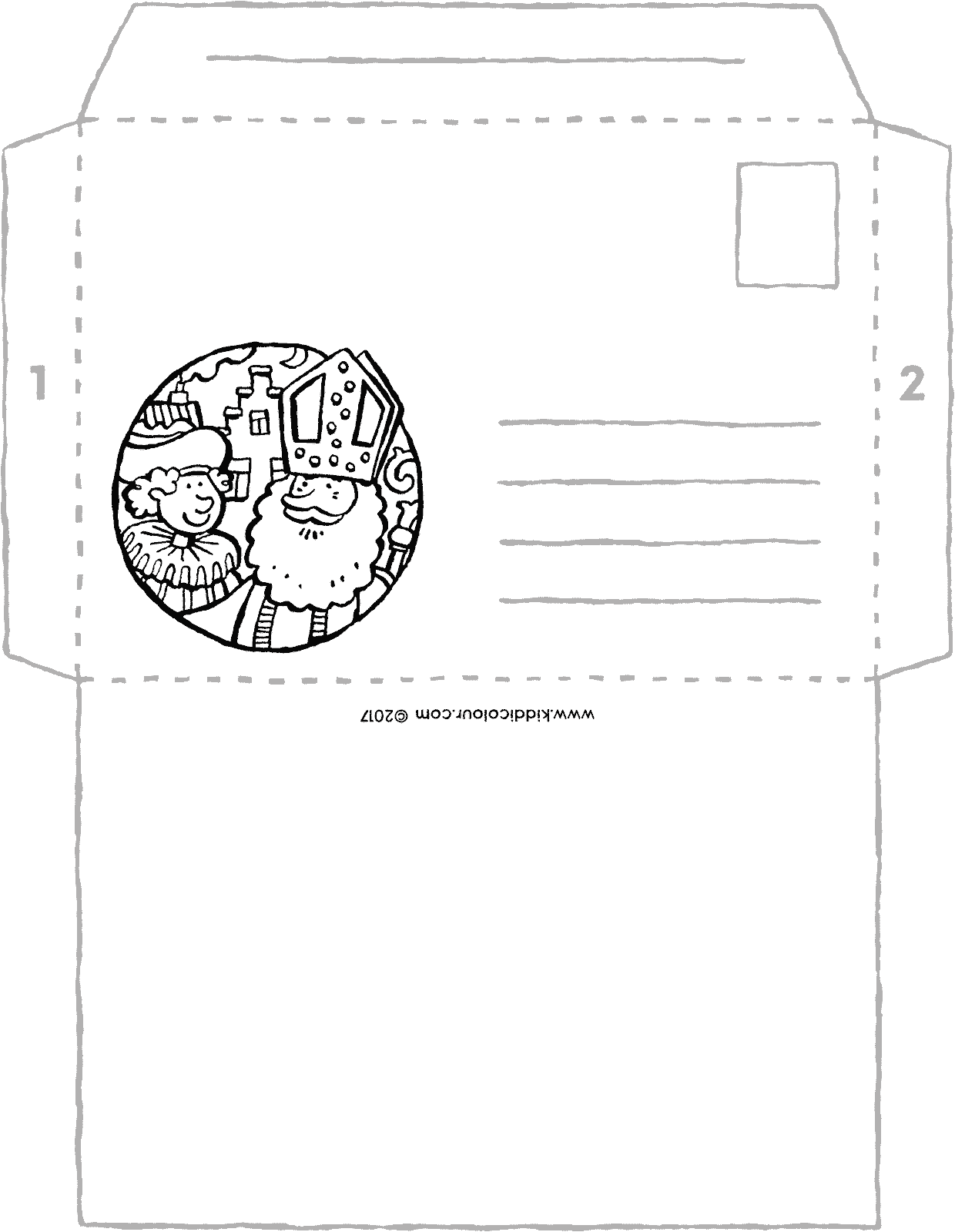 Saint Nicholas envelope colouring page page drawing picture 01V