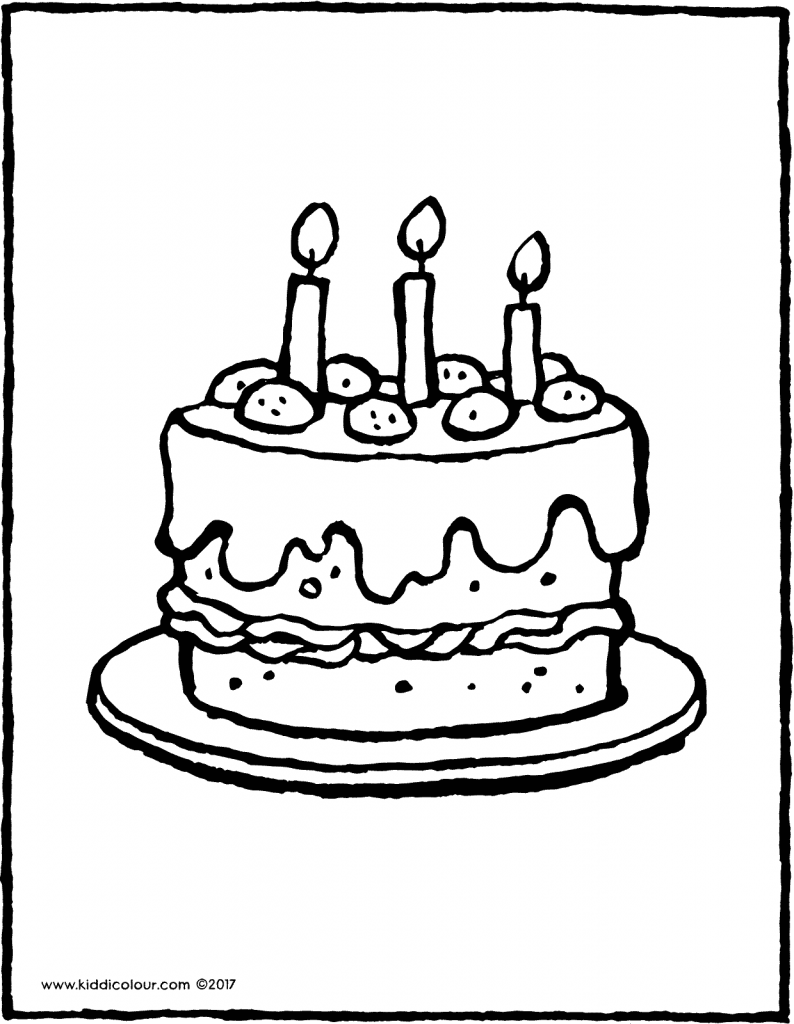 a cake with 3 candles colouring page page drawing picture 01V