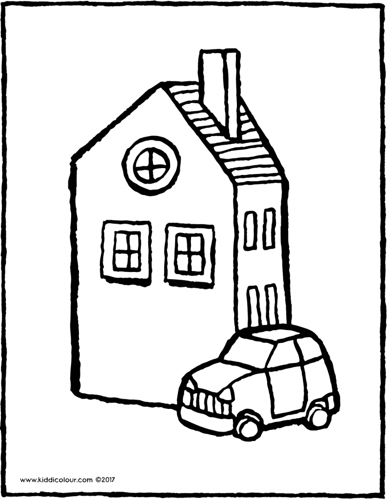 a house with a car colouring page page drawing picture 02V