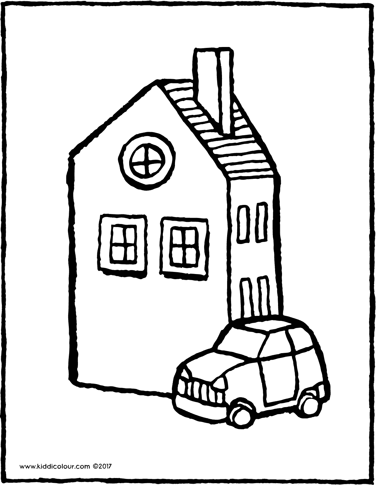 a house with a car - kiddicolour