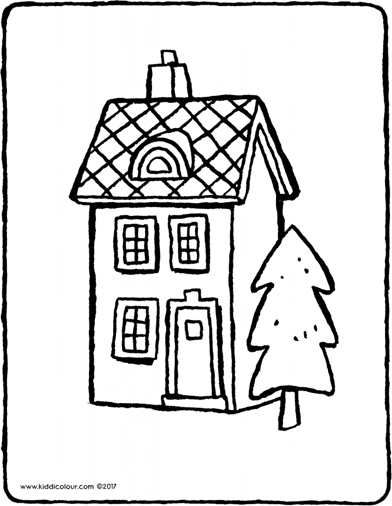 a house with a tree colouring page page drawing picture 02V