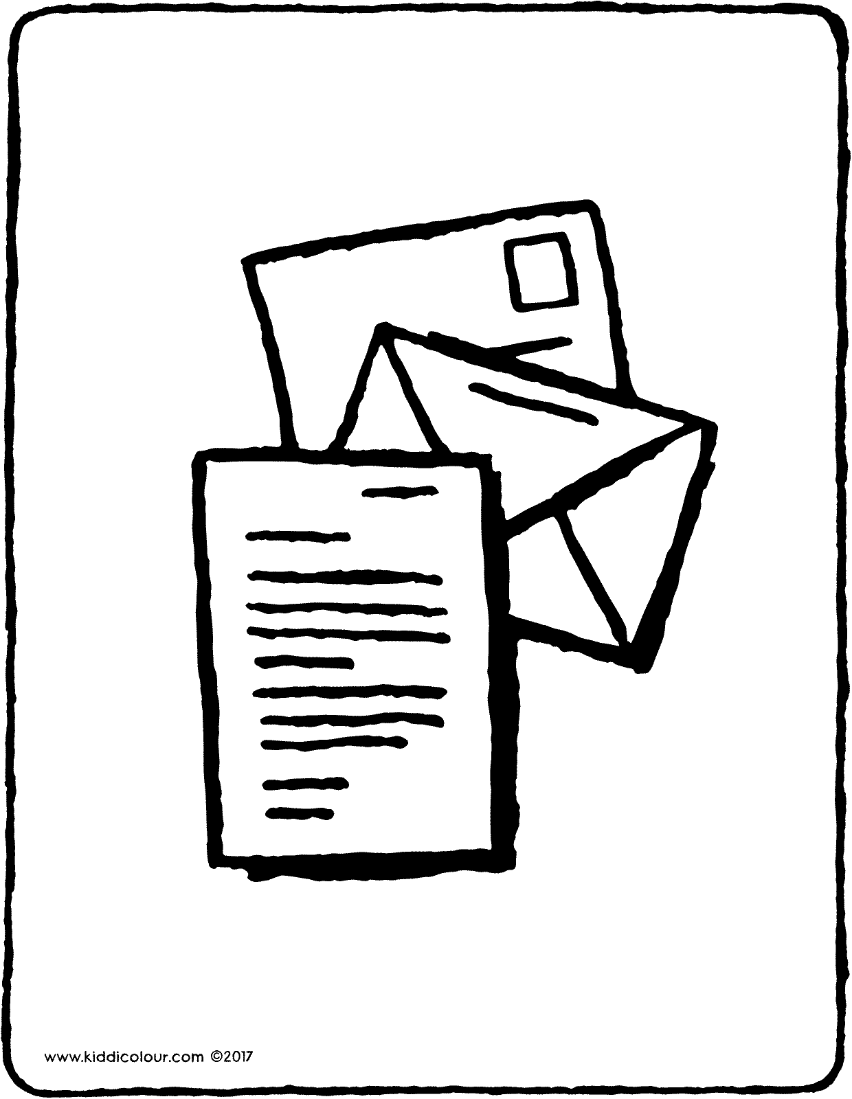 a letter in an envelope colouring page page drawing picture 01V
