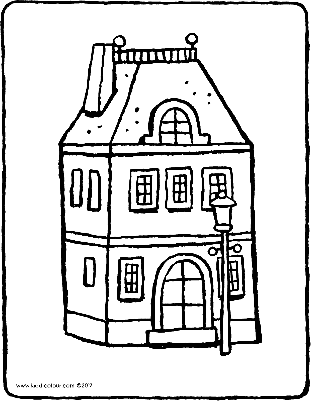 house with lamppost colouring page page drawing picture 01V