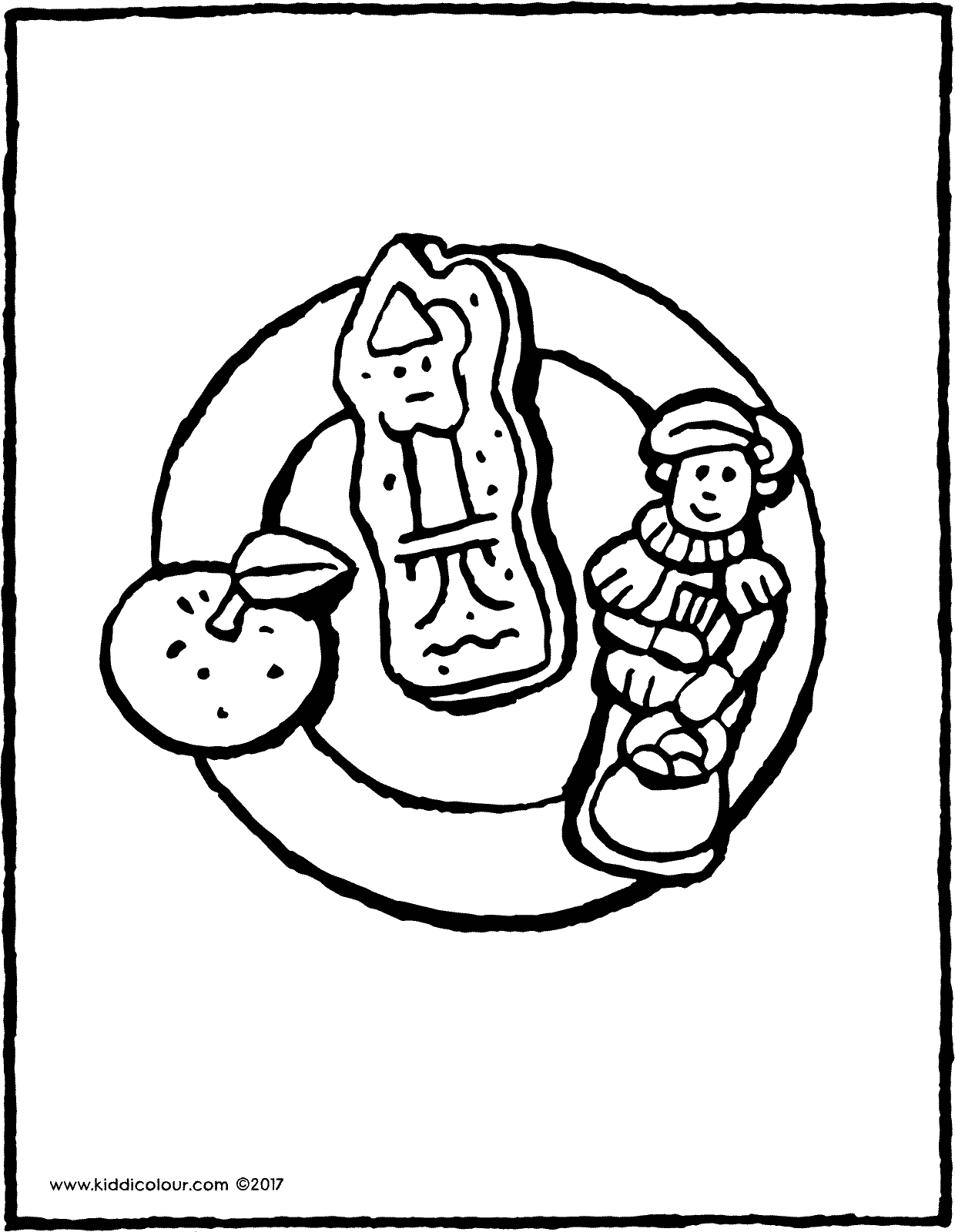 plate of Saint Nicholas sweets colouring page page drawing picture 01V