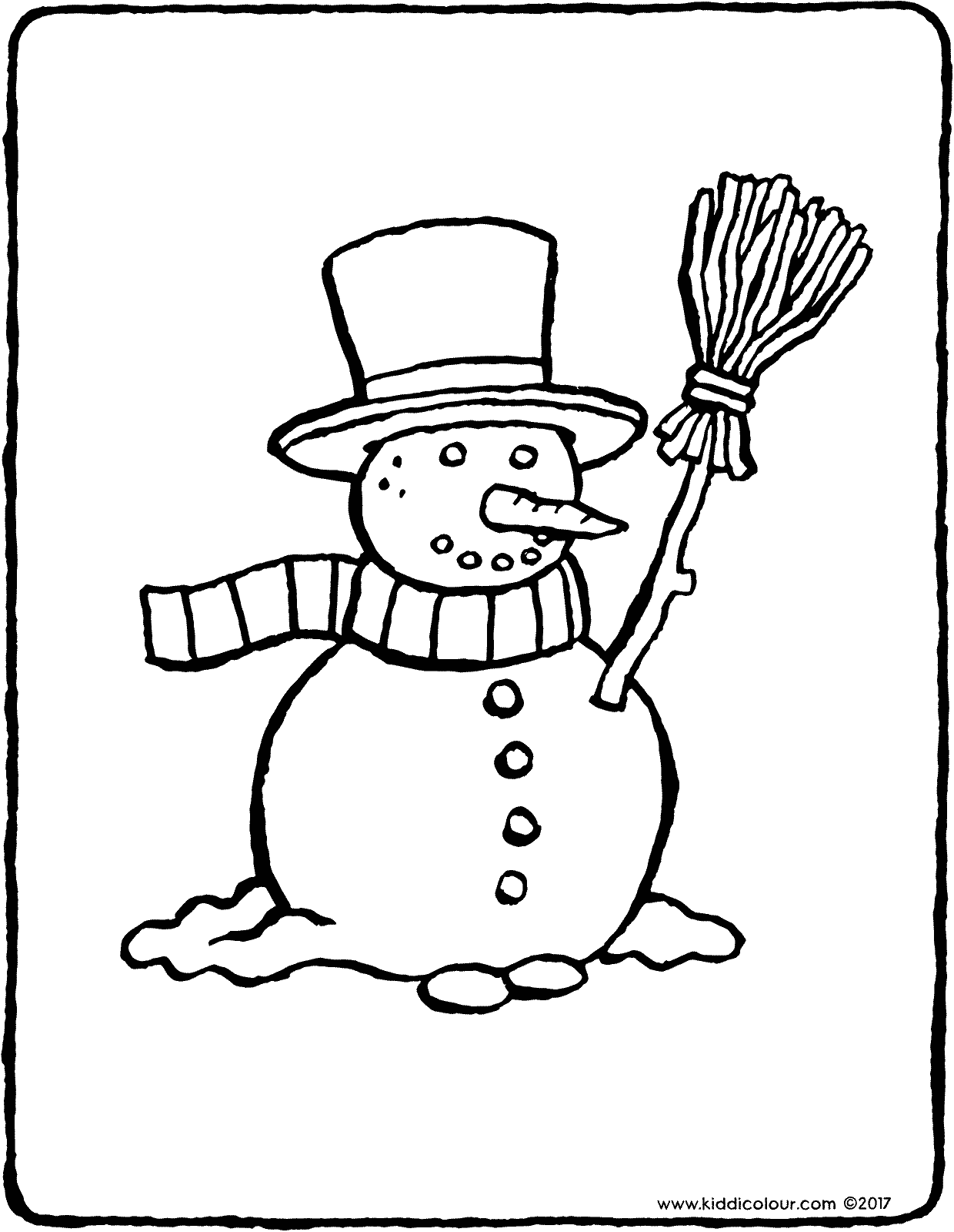 snowman with broom colouring page page drawing picture 02V