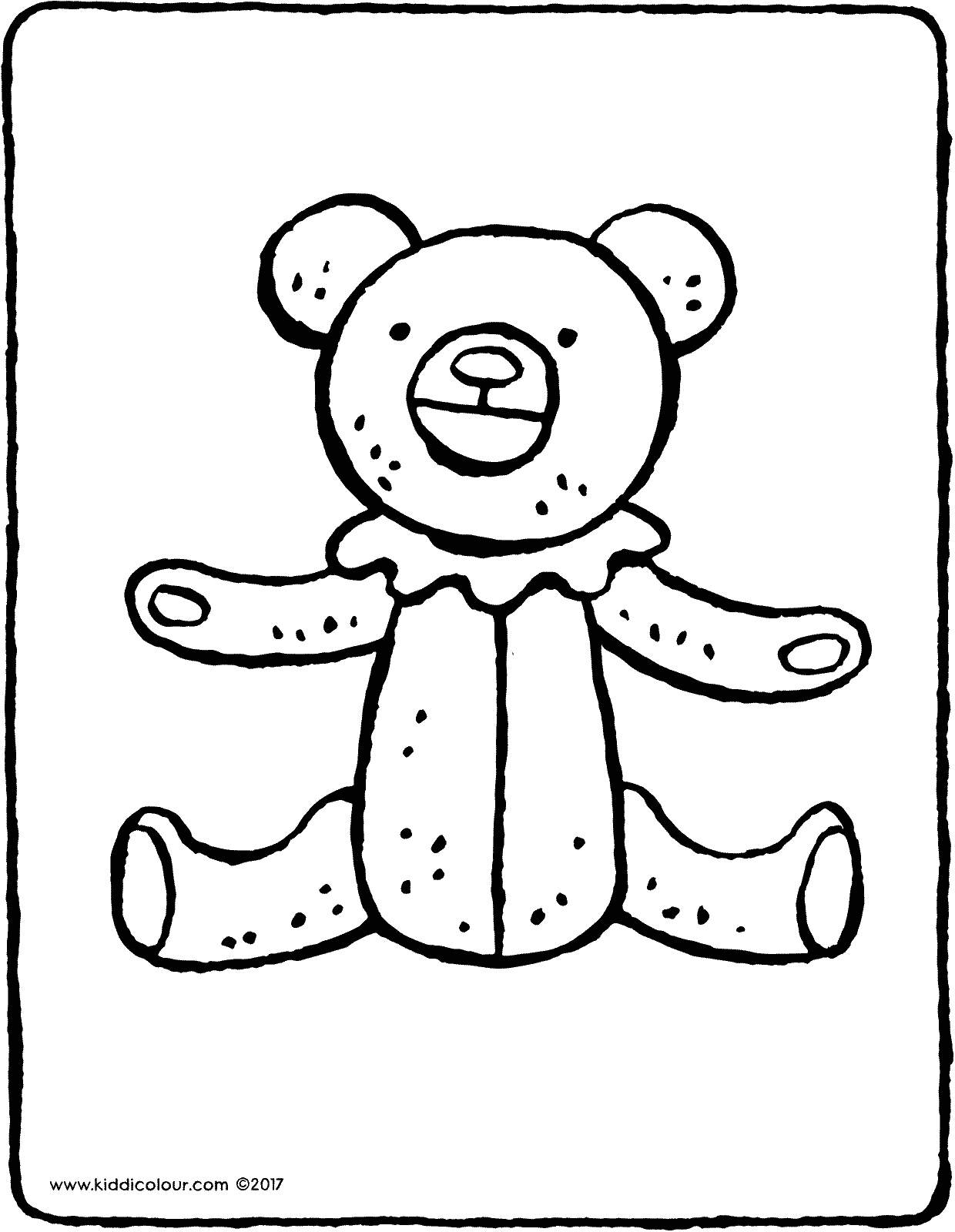 teddy bear with ruffle colouring page page drawing picture 02V
