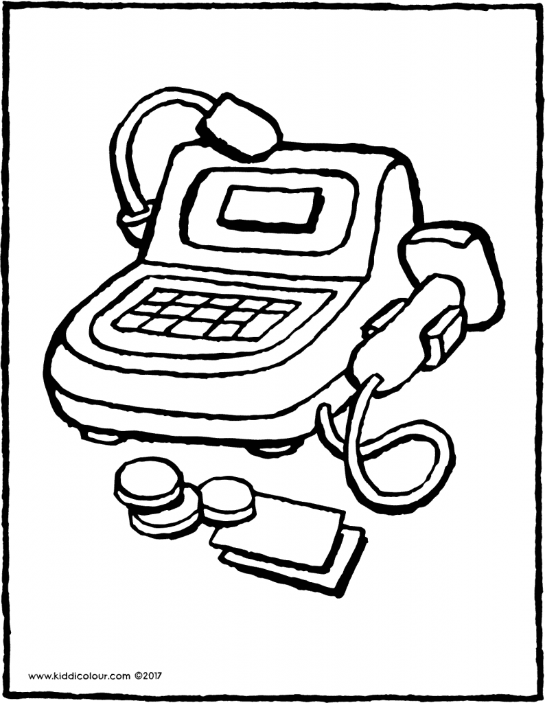 toy cash register colouring page page drawing picture 01V