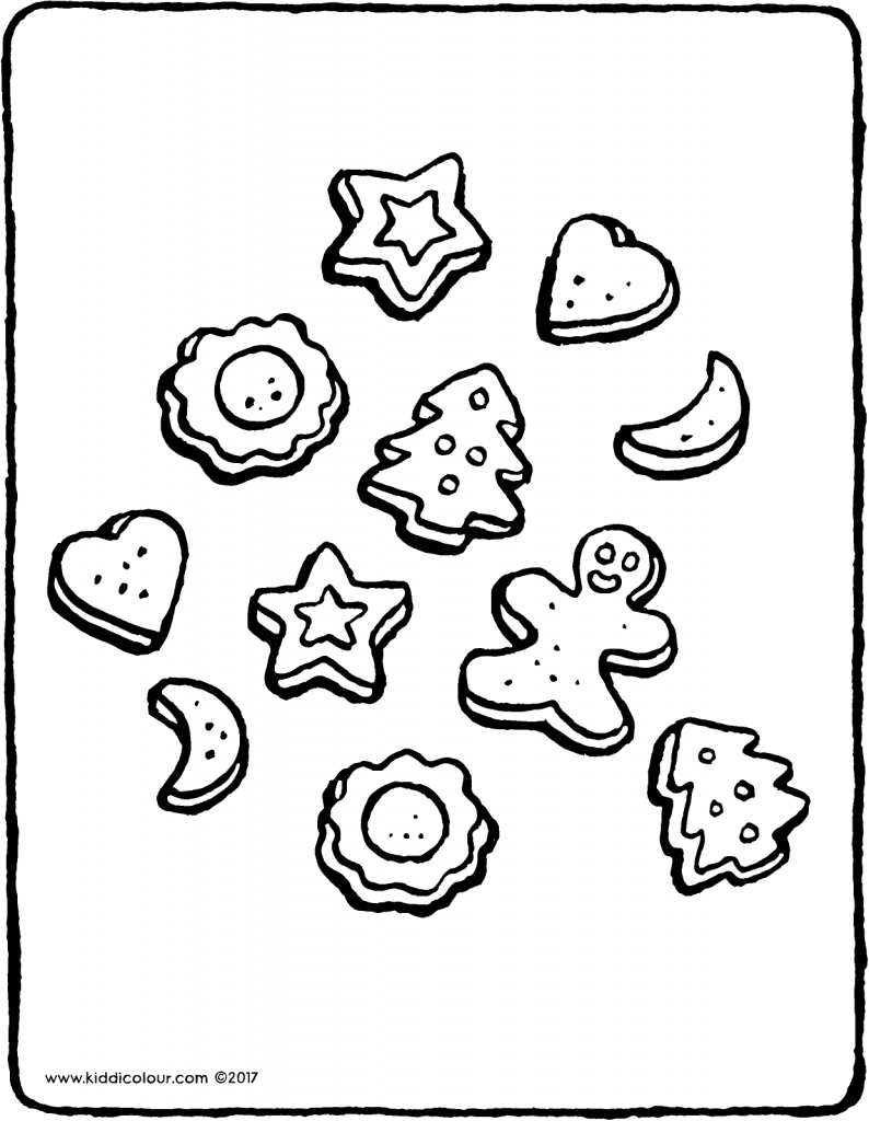 Christmas biscuits colouring page page drawing picture 01V
