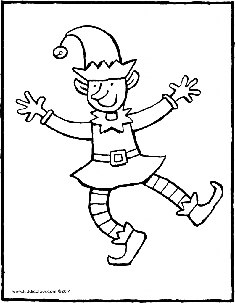 Christmas elf colouring page page drawing picture 01V