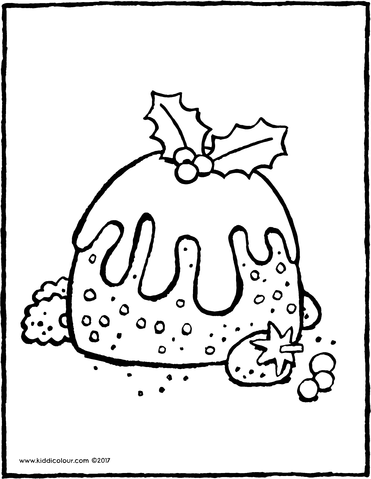 Christmas pudding colouring page page drawing picture 01V