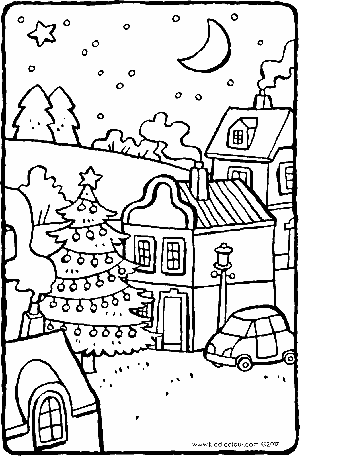 Christmas tree in the village colouring page page drawing picture 01H