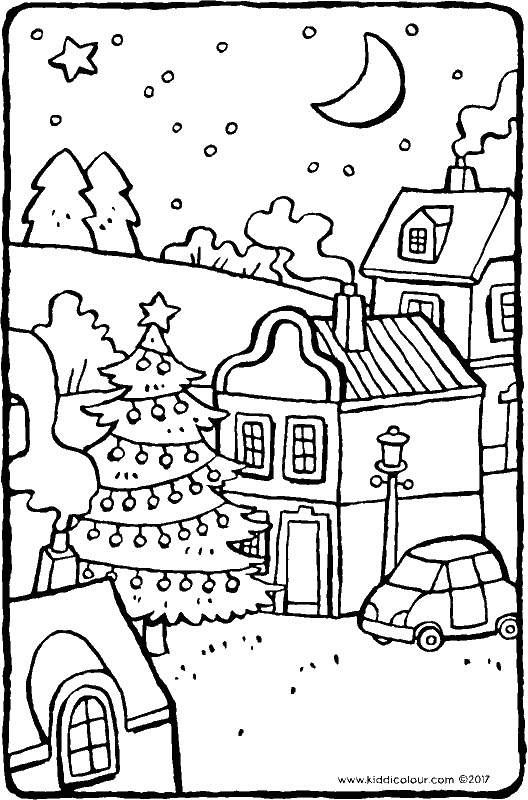 Christmas tree in the village colouring page page drawing picture 01k