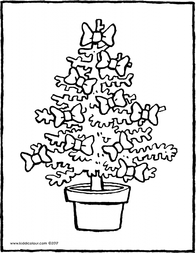 Christmas tree with bows colouring page page drawing picture 01V