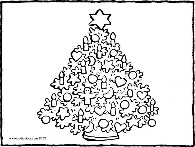 Christmas tree with decorations colouring page page drawing picture 01k