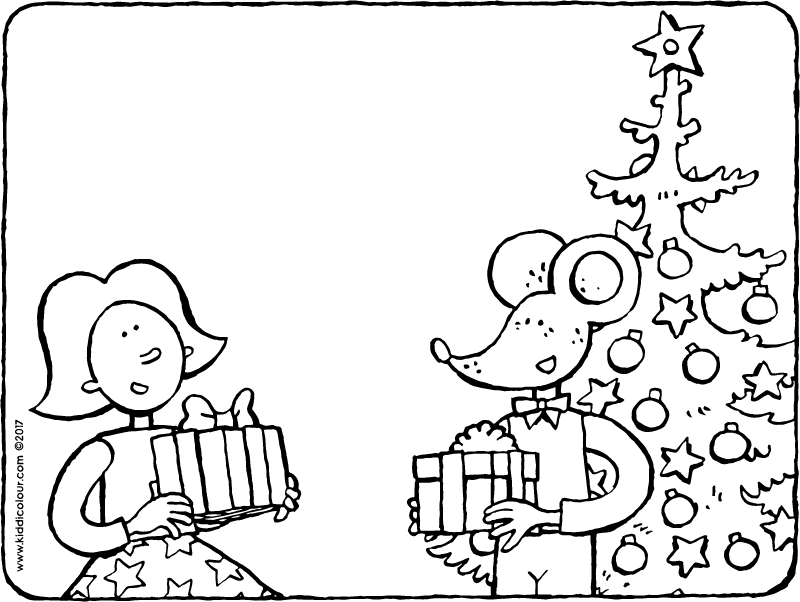 Emma and Thomas beside the Christmas tree colouring page page drawing picture 01k