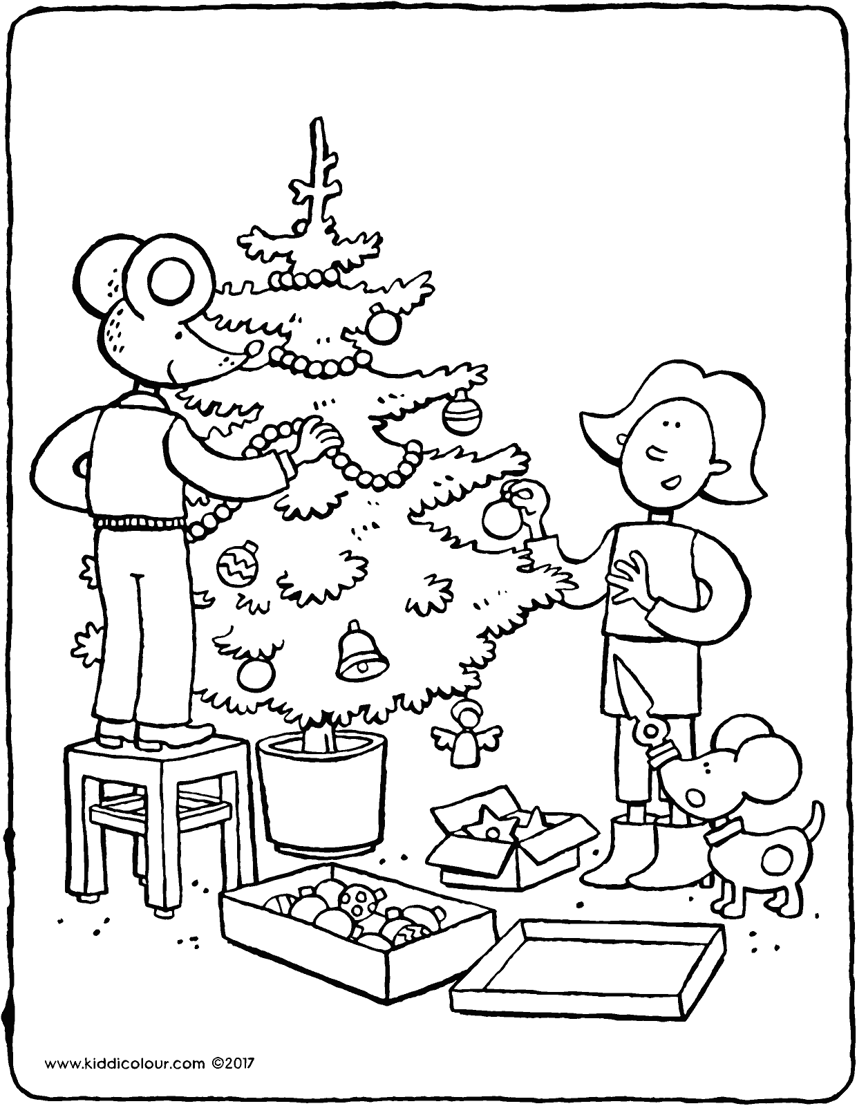 Emma and Thomas decorate the Christmas tree colouring page page drawing picture 01V