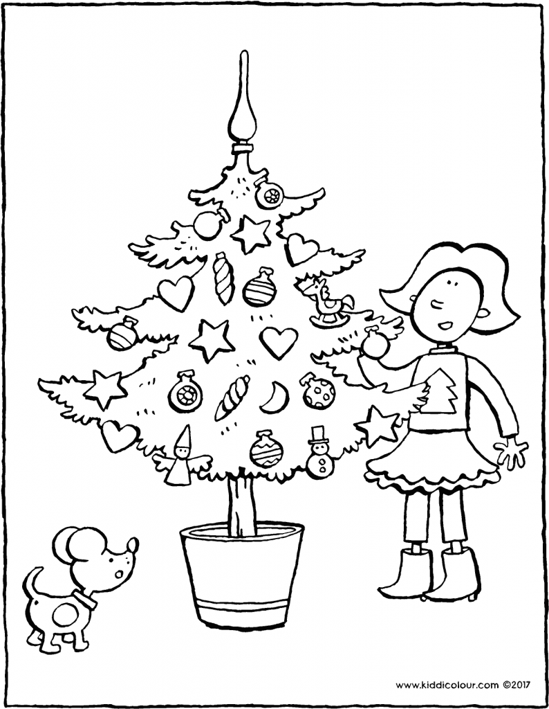 Emma beside the Christmas tree colouring page page drawing picture 01V