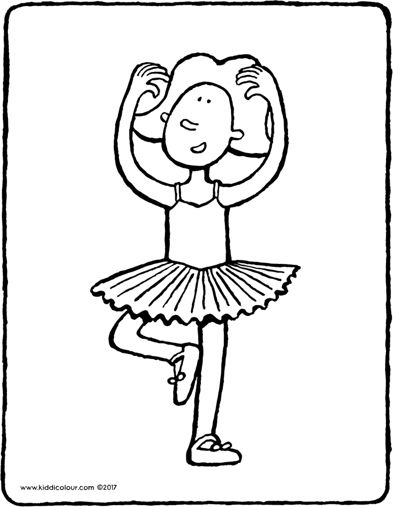 Emma dances ballet colouring page page drawing picture 01V