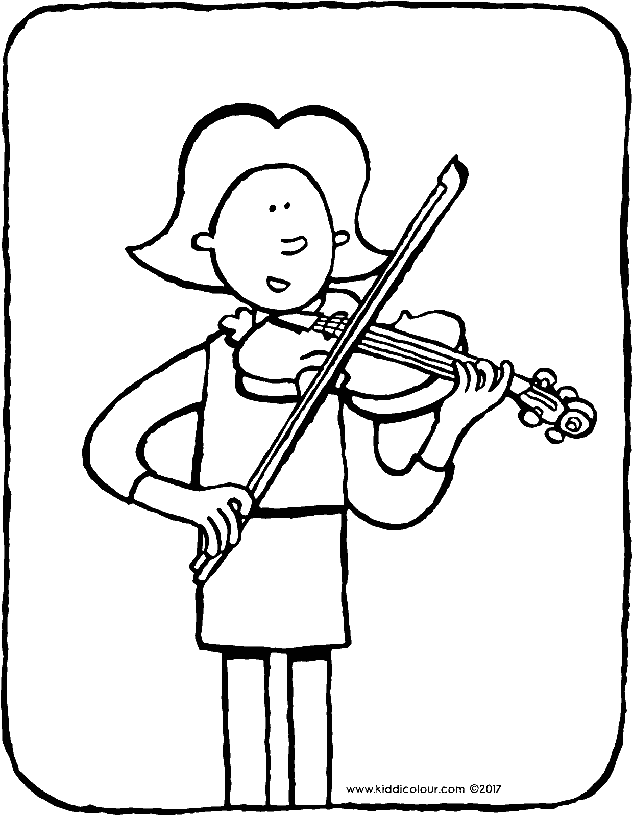 Emma plays violin colouring page page drawing picture 01V