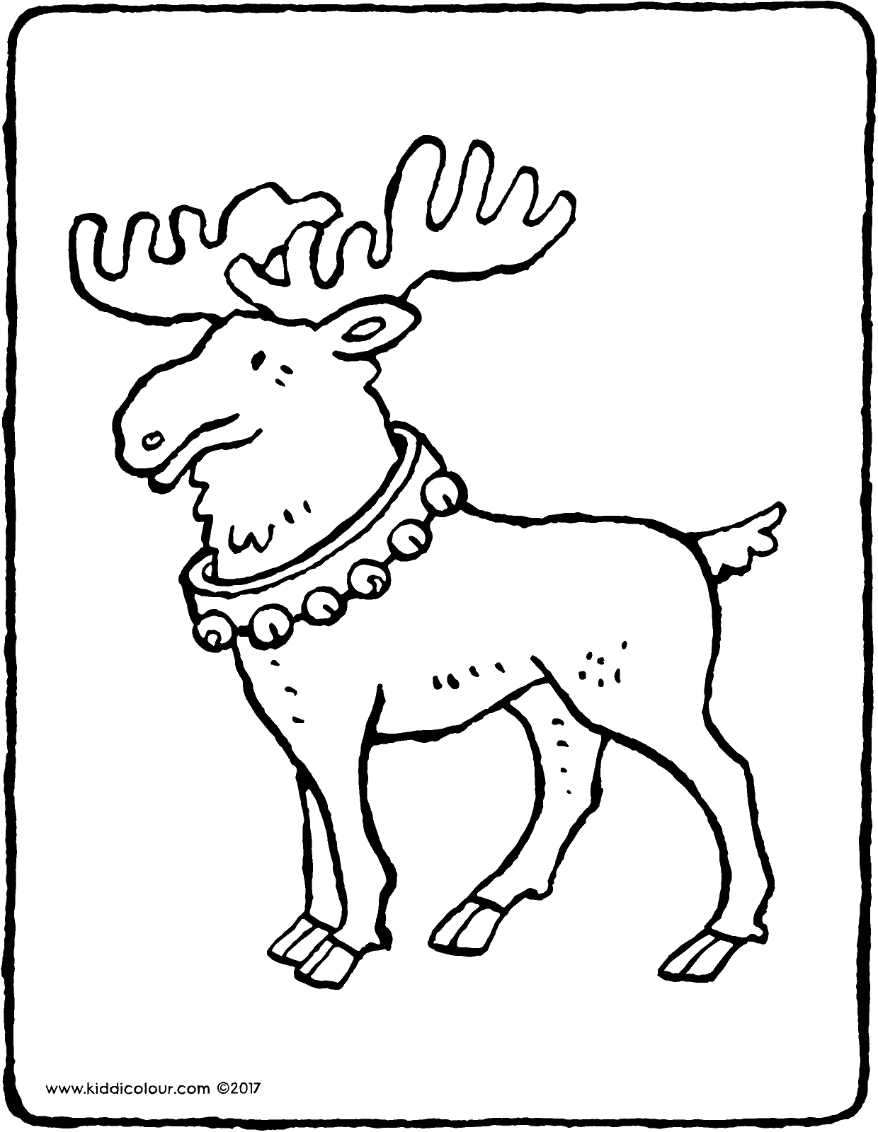 Father Christmas' reindeer colouring page page drawing picture 01V