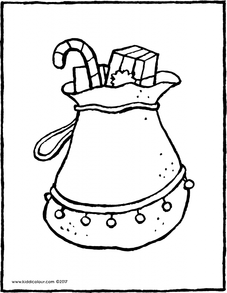 Father Christmas' sack colouring page page drawing picture 01V