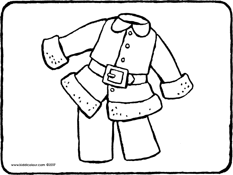Father Christmas' suit colouring page page drawing picture 01k