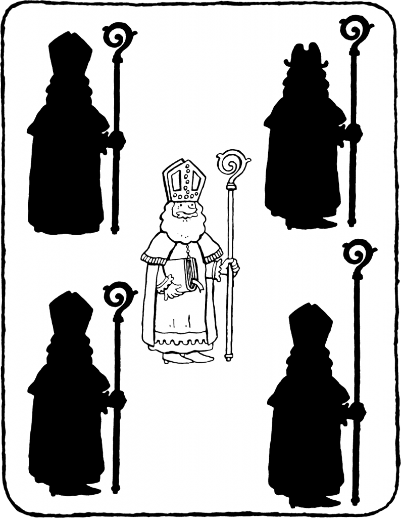 Saint Nicholas and his shadow colouring page page drawing picture 01V