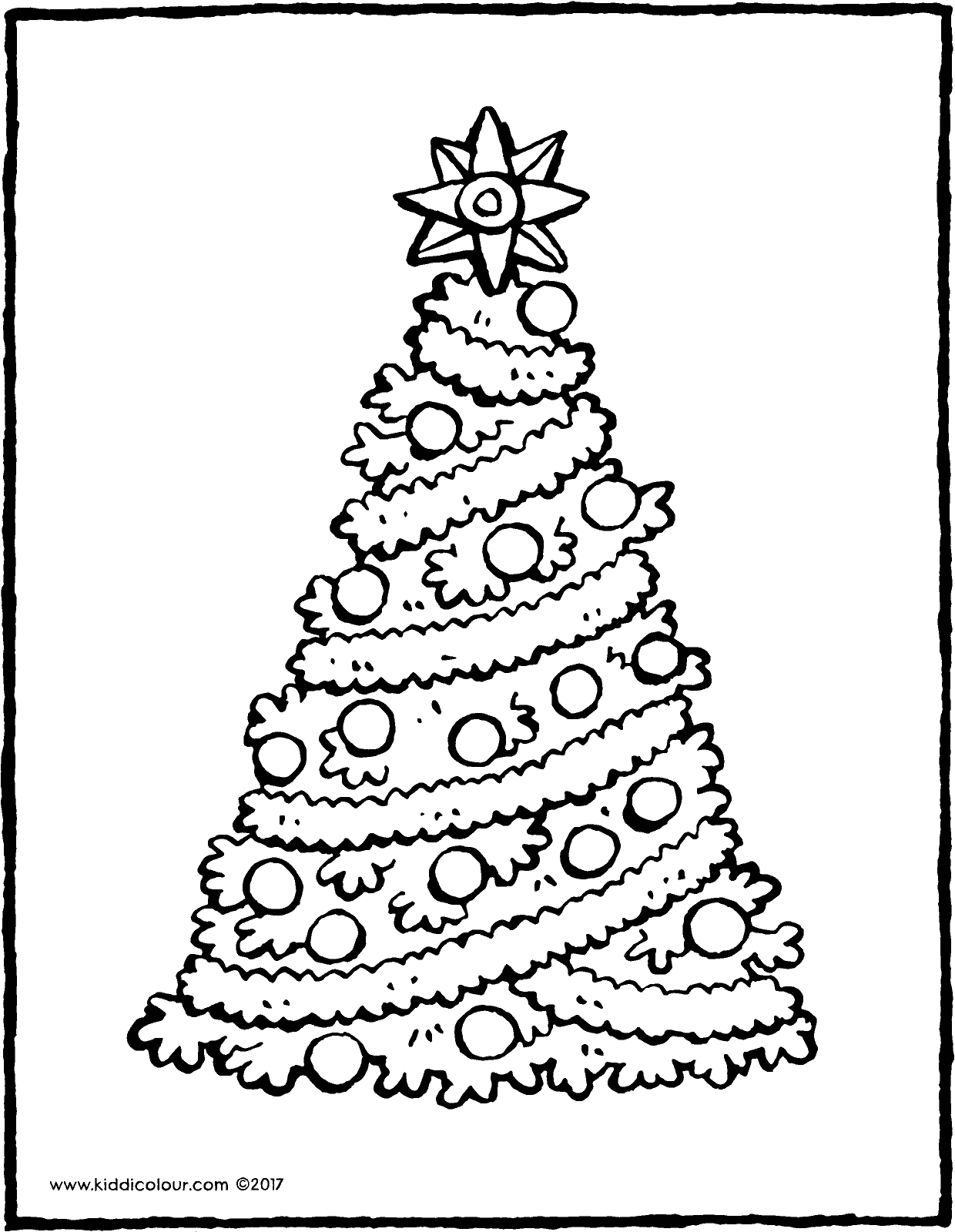 a Christmas tree with a big star colouring page page drawing picture 01V
