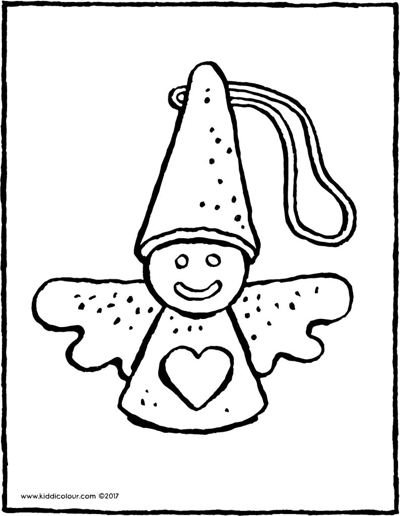 angel Christmas decoration colouring page page drawing picture 01V