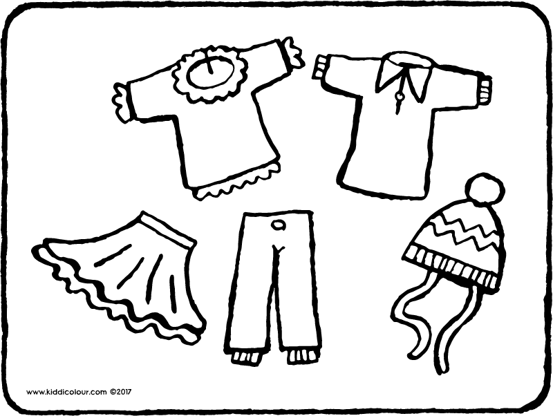 doll's clothes colouring page page drawing picture 01k