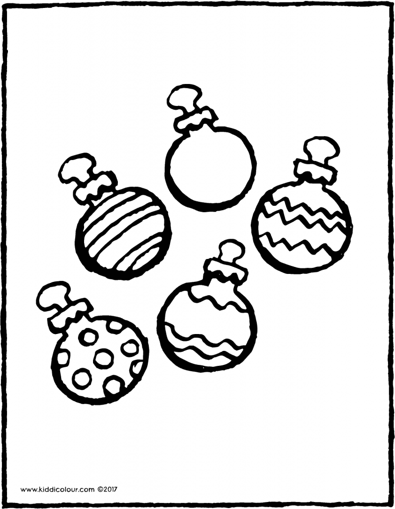 five Christmas baubles colouring page page drawing picture 01V