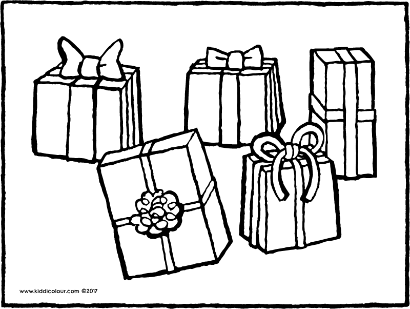 five presents colouring page page drawing picture 01k