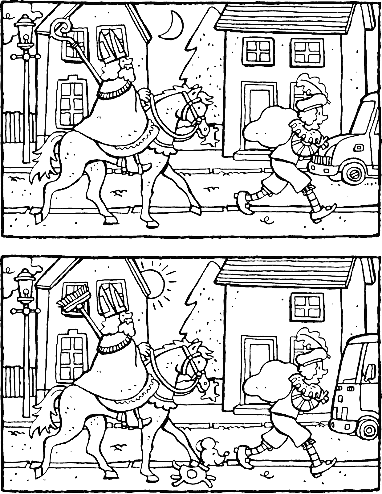 help Saint Nicholas to spot the five differences colouring page page drawing picture 01k