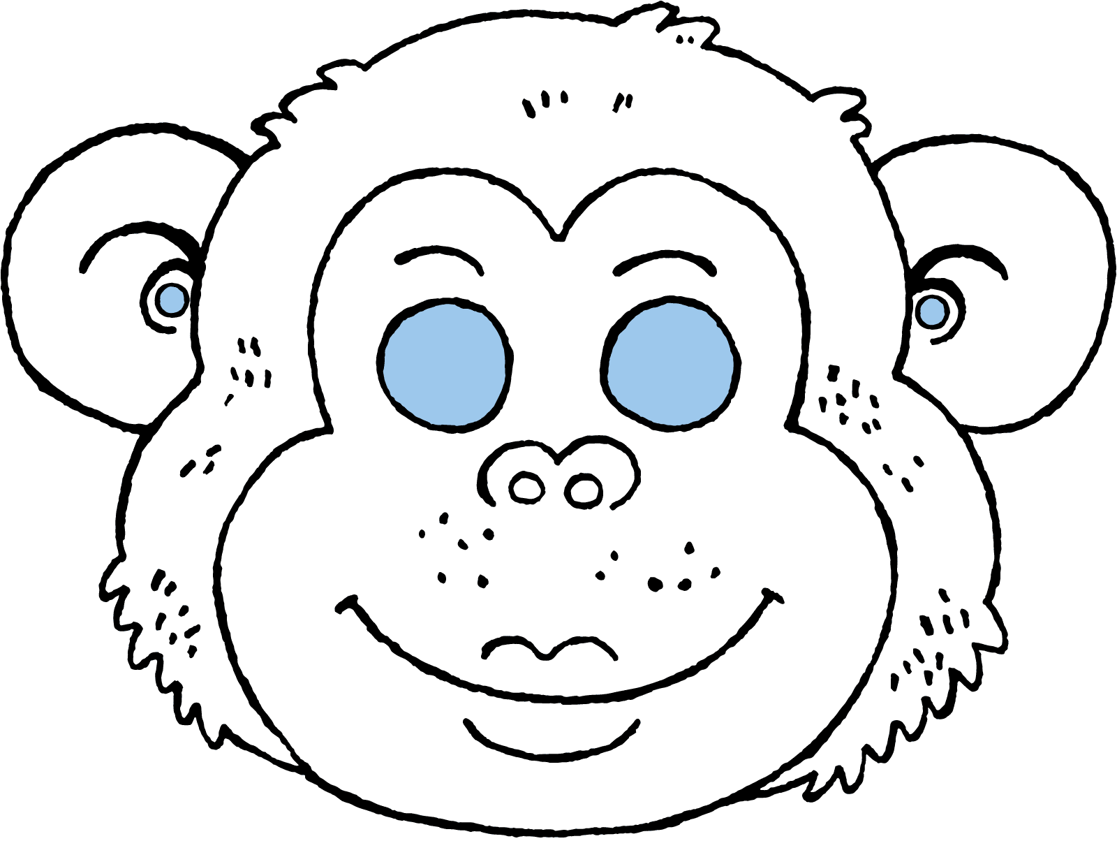 monkey mask colouring page page drawing picture 01k
