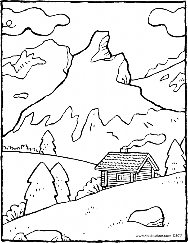mountain landscape colouring page page drawing picture 01V