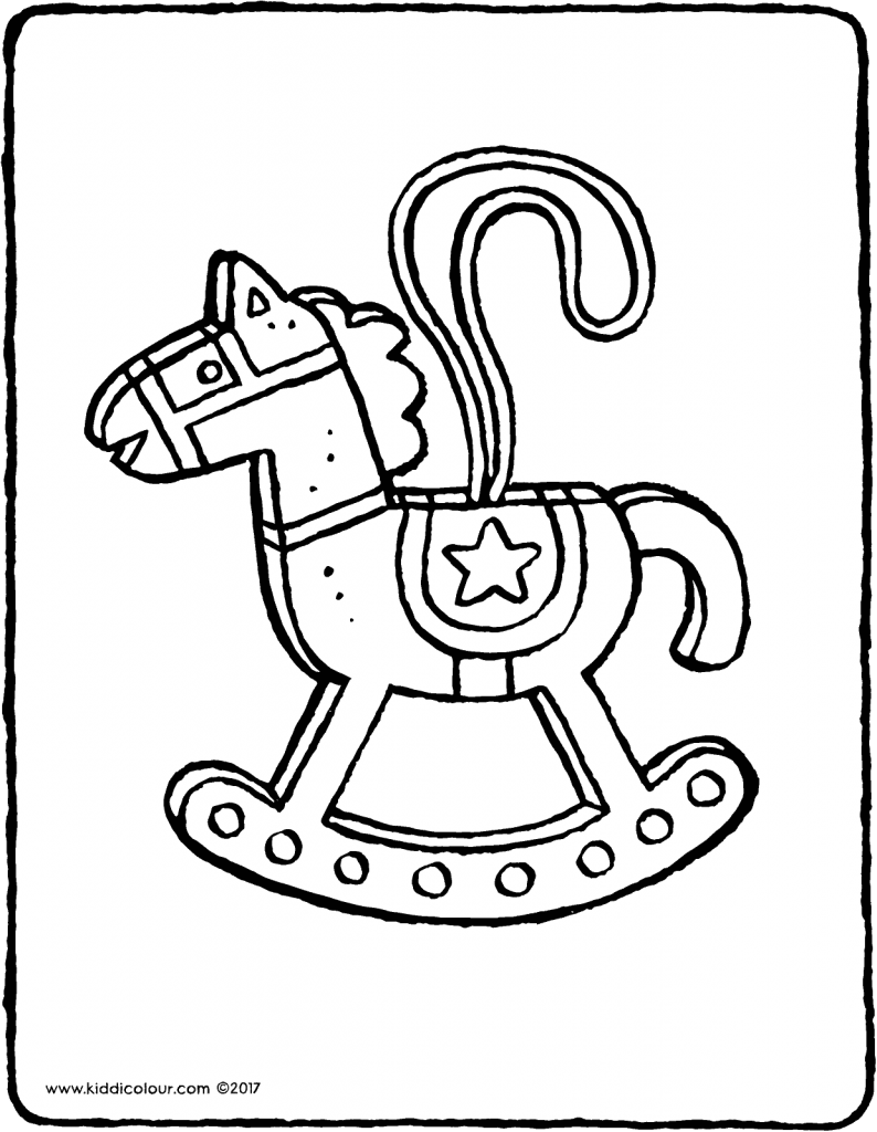rocking horse tree decoration colouring page page drawing picture 01V
