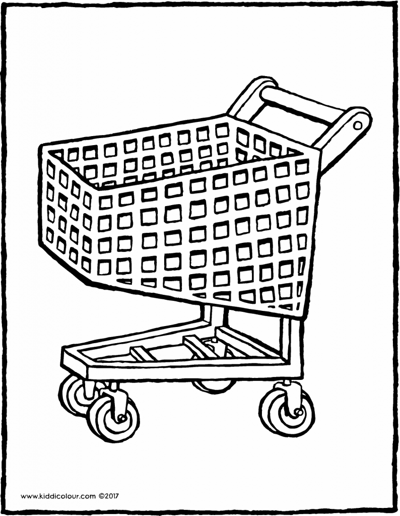 shopping trolley colouring page page drawing picture 01V