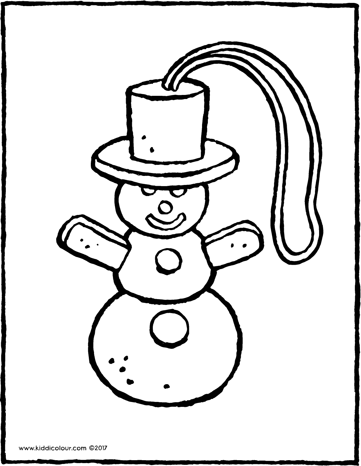 snowman Christmas decoration colouring page page drawing picture 01V
