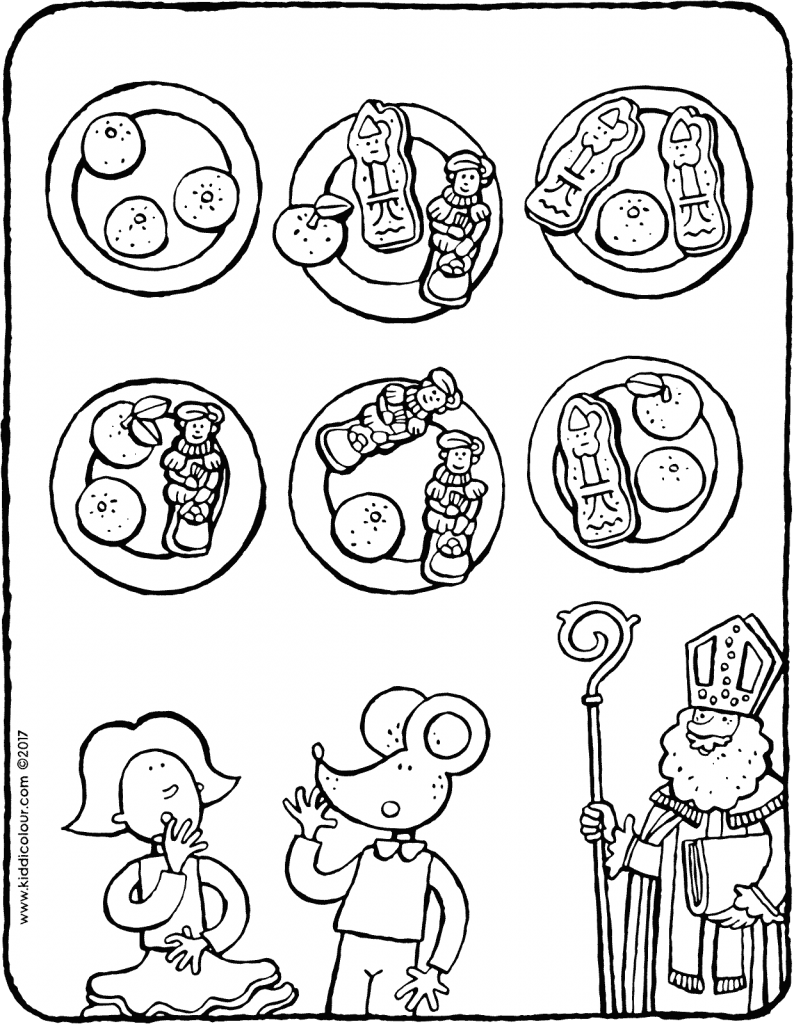 sweets from Saint Nicholas for Emma and Thomas colouring page 01V