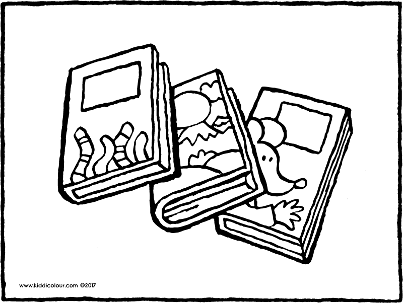 three books colouring page page drawing picture 01k